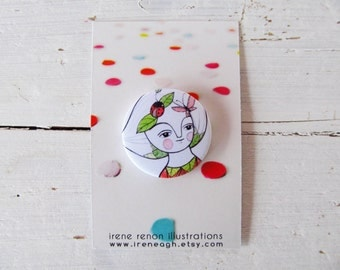 Butterfly & ladybug pin, cute nature girl button brooch