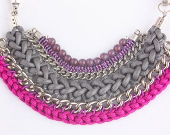 YACERA gray and magenta statement necklace with chains and crystal beads