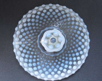 Vintage Hobnail Lid Opalescent Glass Moonstone 5 3/4 inches