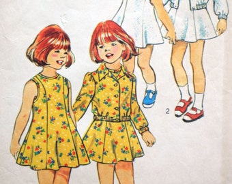 Simplicity 6241 - Cute Girls' Tennis Dresses & Jackets, Sundress - So Sweet - Size 4 Vintage Pattern - Spring Dress DIY Play Clothes