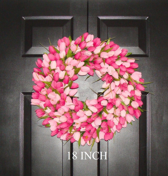 Spring Wreath- Pink Mini Tulip Spring Wreath- Front Door Wreath for Spring