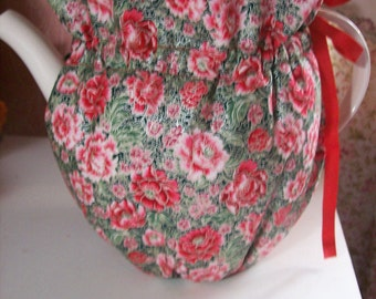 Red Flower Insulated Reversable Tea Pot Cozy
