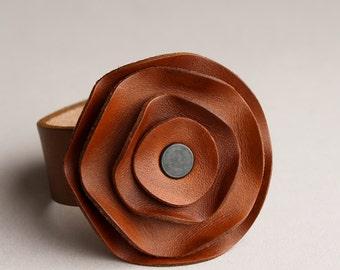 leather scarf cuff, floral scarf cuff, neutral medium brown, Saddle brown, chestnut