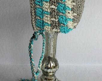 "CROCHET PATTERN Crocheted Infant Bonnet ""Justin""   Instant Download Sizes newborn - 12 months"