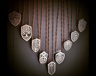 Shield Pendant - Etched Copper  - handmade from copper in my studio - Pick one - by Jamie Spinello - handmade in Austin, Tx