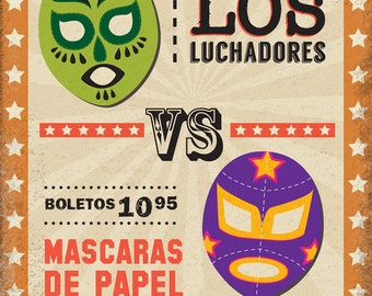 Lucha Libre Printable PHOTO BOOTH PROPS Mexican Wrester Masks- Editable Text >> Instant Download | Paper and Cake