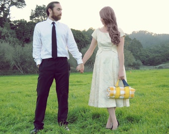 Picnic Blanket- ORGANIC, Picnic Wedding, Yellow Gold Gingham, Waterproof Picnic Blanket, Valentine's Day Gift