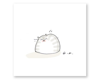 Happy Cat Print- Cute Cat Art- Art for Cat Lover