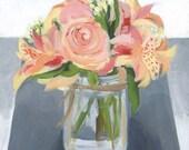 Peach Bouquet ORIGINAL Acrylic Painting