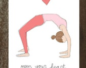 Open Your Heart, Yoga-Inspired Valentine's Day Card (Blank Inside)