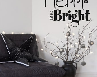Merry and Bright Christmas Vinyl lettering wall decal sticker home decor art