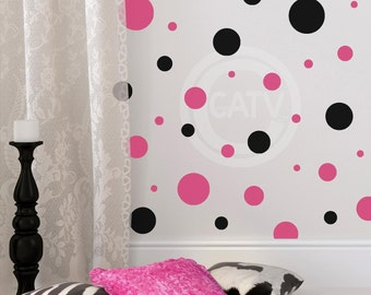 Set of 32 large Polka dots plus 10 FREE smaller dots Vinyl lettering wall decal stickers circles nursery decor dot