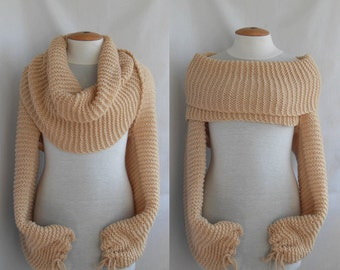 Bolero Scarf shawl with sleeves at both ends. New fashion. FREE worldwide shipping