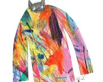 Jumper Cat, A3 Giclee print of my illustration