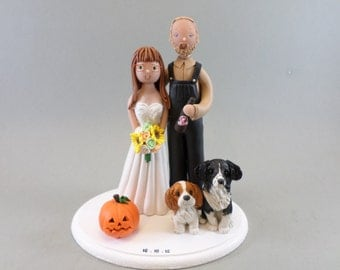 Bride & Groom with Dogs Customized Wedding Cake Topper