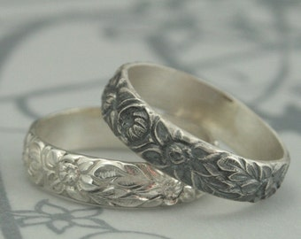 Antique Style Wedding Ring--The Dahlia Band--Sterling Silver Wedding Band--Flower Pattern Ring--Daisy Ring--Flower Band--Sunflower Ring