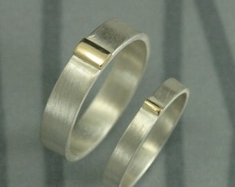 Silver and Gold Wedding Rings--The Executive Set--Two Tone Bands--Solid Gold Bar Rings--Bimetal Bands--Mad Men Inspired Rings--Partner Rings