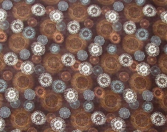 Brown Blue White Medallions Quilter's Weight Cotton Print Fabric - One Yard - Yardage - By the Yard