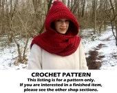 crochet scarf pattern, scoodie pattern, crochet hooded scarf pattern, crochet pattern, chunky hooded scarf pattern, scarf with hood pattern