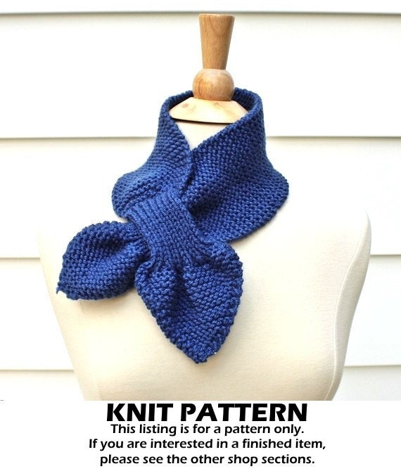 Keyhole scarf knitting pattern knit ascot scarf pattern