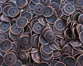 15mm (2mm Hole) Antique Copper Base Metal Textured Cupped Spacer Beads - Qty 10 (G280)