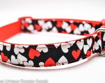 Valentine's Day Heart Dog Collar / Lovey / Red White Hearts / Custom Dog Collar