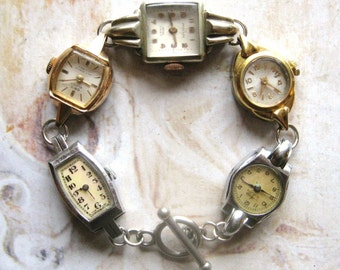 Timeless - Handmade Bracelet With Gold Tone and Silver Tone Vintage Art Deco Watches with Gift Box
