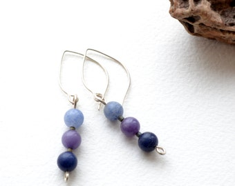 Trio Blue Aventurine, Silver Earrings - Handmade, Free US Shipping, Metaphysical Healing Jewelry, Gemstone, Dream