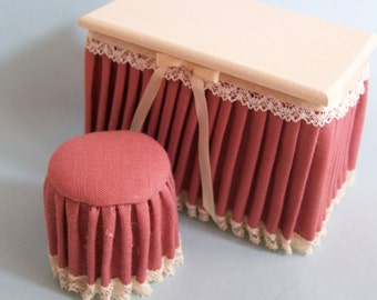 Reduced - One inch scale, Mauve and Cream, skirted vanity and stool set, for the dollhouse.