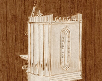 coffee art, 1947 Gaggia Espresso Machine, painted using only coffee, espresso, vintage, 1940s, Gaggia