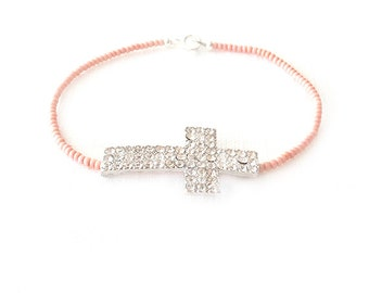 Minimalist Beaded Silver Bracelet - Czech Glass Beads - Pink - The Skinny: Cross Crystal
