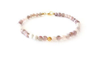 Gemstone Bracelet - Lilac Stone - Purple, White - The Stoned: Filigree 4mm Round