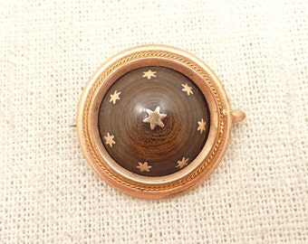 Antique Victorian Gold Filled Mourning Brooch with Deep Polished Wood Grain and Star Inlay
