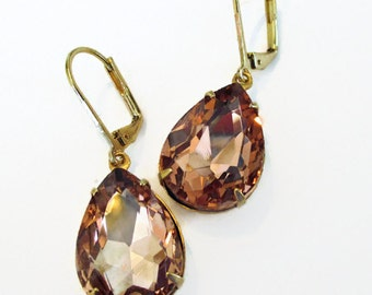 Bridesmaid Gift - Peach Earrings - Peach Crystal Jewelry - Downton Abbey Inspired - CAMBRIDGE Peach