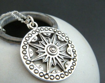 long boho sundial necklace. rustic silver. large compass. sun sunburst jewelry. sterling pendant. bohemian. oxidized patina. traveler gift