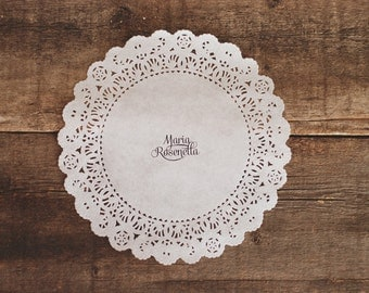 """Lovely Personalized 6"""" or 8"""" Doily Place Cards - Custom Font Choice and Design - Rustic Shabby Chic Wedding Decor - Table Seat Setting Chart"""