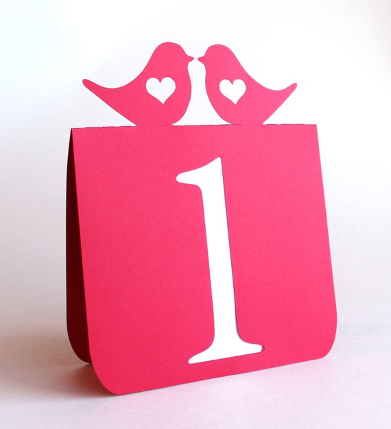 Love Birds with Heart Table Numbers Set 1 to 25 Wedding