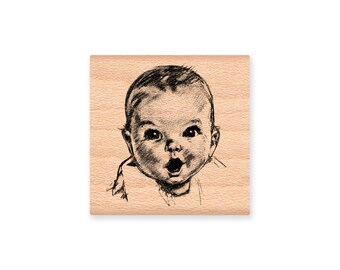 BABY FACE STAMP~ New Baby Shower Announcement Sweet Infant Illustration Card Making Stamping wood mounted rubber stamp(34-36)