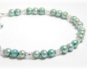 Anklet, Pearl Anklet, Pearl Ankle Bracelet, Something Blue Anklet, Bridal Anklet, Adjustable Anklet with Sterling Silver Clasp