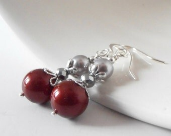Burgundy and Gray Pearl Earrings for Bridesmaids
