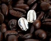 Silver Coffee Bean Earrings, Sterling Silver Stud Earrings, Sterling Silver Coffee Bean Studs, Silver Stud Earrings, Coffee Jewelry Gift