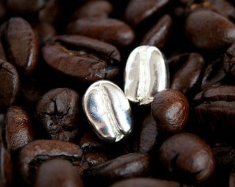 Silver Coffee Bean Earrings, Sterling Silver Stud Earrings, Sterling Silver Coffee Bean Studs, Silver Stud Earrings, Coffee Jewelry Gift