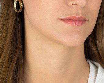 Hoop Earrings, Garnet Golden Crown Hoop Earrings, Garnet Jewelry, Organic Hoop Earrings, Women's Jewelry