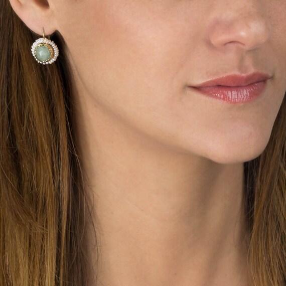 Aquamarine Earrings, 9K solid gold Aquamarine Pearls Queen earrings, Aquamarine Earrings,Fine Jewelry, March Birthstone,
