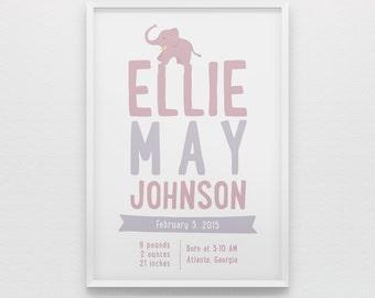 Newborn baby girl birth stats nursery wall art print, personalized gift, purple lavender poster, elephant