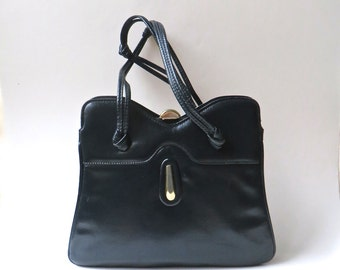 60s/70s vintage Midnight Blue Faux Leather Purse