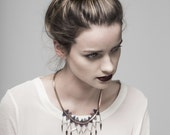Lace necklace - Array - Indigo lace with copper chain, silver sticks and antiqued brass findings