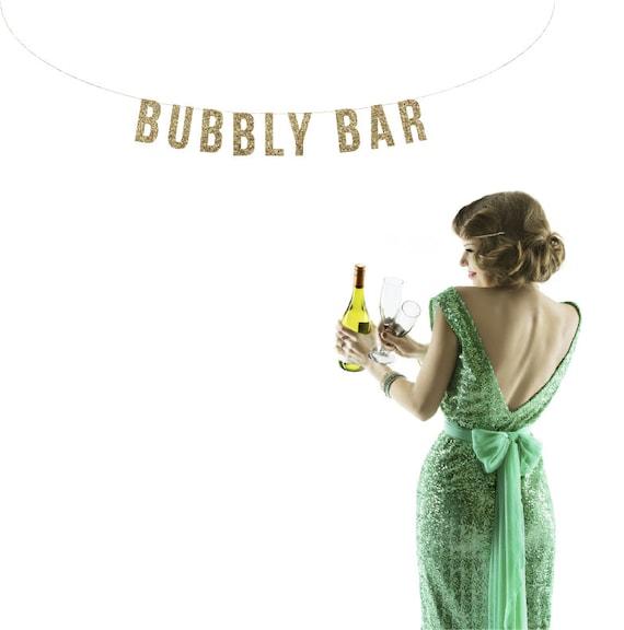 BUBBLY BAR Glitter Garland. Wedding Reception Decor. Bar Cart. Champange Brunch Decor. Wedding Reception