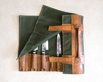 """Olive Green Waxed Canvas & Hand Dyed Leather // """"waxed knife roll"""" by fullgive in olive"""