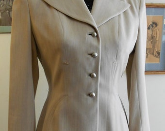 "1940's, 34"" bust, gray/tan gabardine jacket"